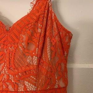 Soprano Orange Lace Dress Over Nude